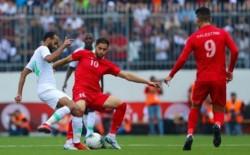 انتهاء المباراة بين فلسطين والسعودية بالتعادل السلبي