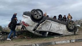 حادث سير مروع شرقي قطاع غزة وانقلاب الجيب