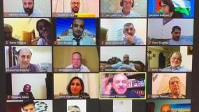 """اشتية خلال لقاء عبر """"الفيديو كونفرنس"""" مع أبناء الجالية الفلسطينية في دولة الإمارات العربية:"""